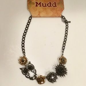 NWT Mixed Metal Owl and Flower Statement Necklace